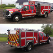 East Campbell FD | HME Ahrens Fox Mini Evo | Ford F550 w/ stainless body, 1500 gpm Hale pump, 400 gal. water, foam system, LED scene and warning lights